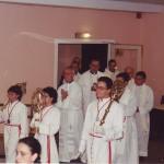 Procesión con la Reliquia de la Santa Columna que se conserva en Jerusalén propiedad de la Cofradía, para comenzar la Eucaristía.