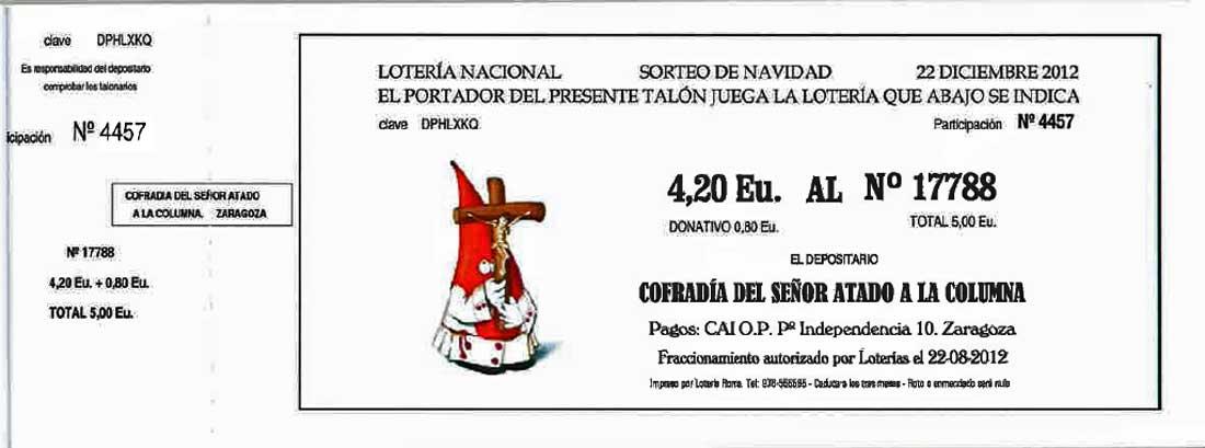 Cofradia Columna Zaragoza – Loteria Navidad 2012